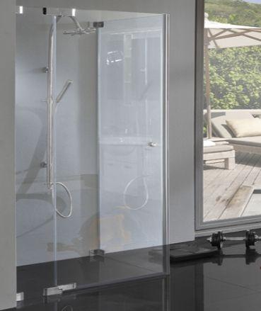 TB2S, Rahmenlose Eck Dusche, auch bodengleich fugenbündig, Pendeltür und Festwand, 8mm Glas, chrom