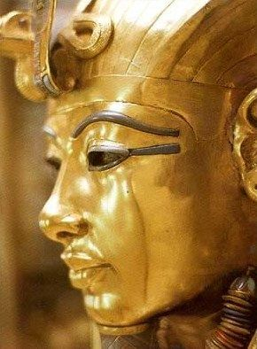 Closeup of the face of the golden inner coffin of  Tutankhamun.