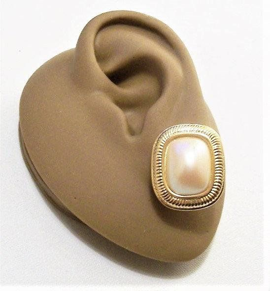 Beveled Gold and Pearl Earrings