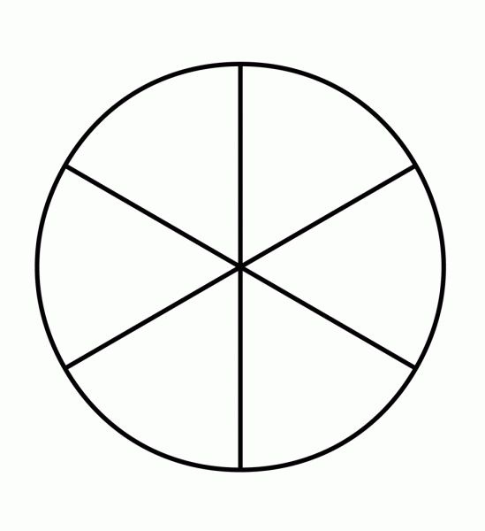 Template Of A Circle Divided Into 6 Pieces   Printable   Pinterest ...