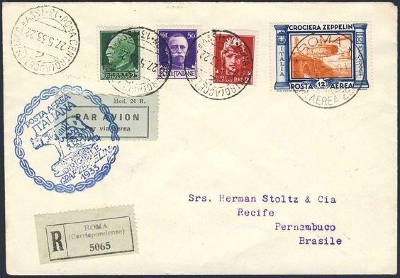 Italy (Airmail stamps), Zeppelinpost 29.05.1933, Brief von der Italienfahrt, R-Brief von Rom, Freimarken mit dem Tagesstempel vom 27.5., die Zeppelin-Marke (12 L.) mit dem 2. Postsonderstempel vom 29.5., der Brief trägt rückseitig den Maschinen-Duplex-Stempel von Rom. Der Brief ist an Bord geblieben und mit der 2. Südamerika-Fahrt nach Brasilien, mit Ankunft-Stempel von PERNAMBUCO/ 6.6.1933. (Bf., Sieger-Nr. 208L + 214Ab) (Mi.-Nr. Italien 442, 304, 307, 311). Estimate (8/2016): 500 EUR.