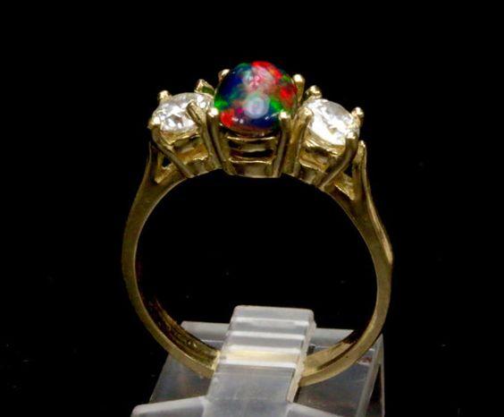 Black Opal & 1/3 carat Diamond Engagement Ring. by AmyKJewels