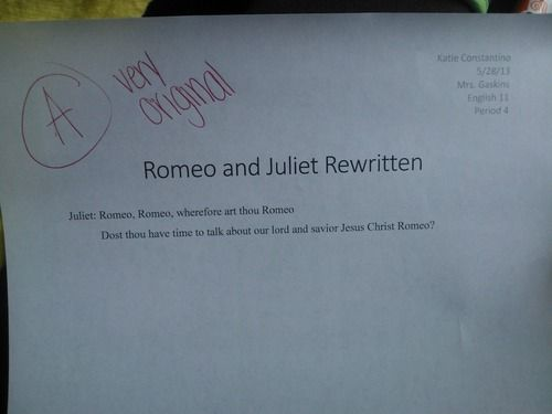 romeo and juliet essay assignments