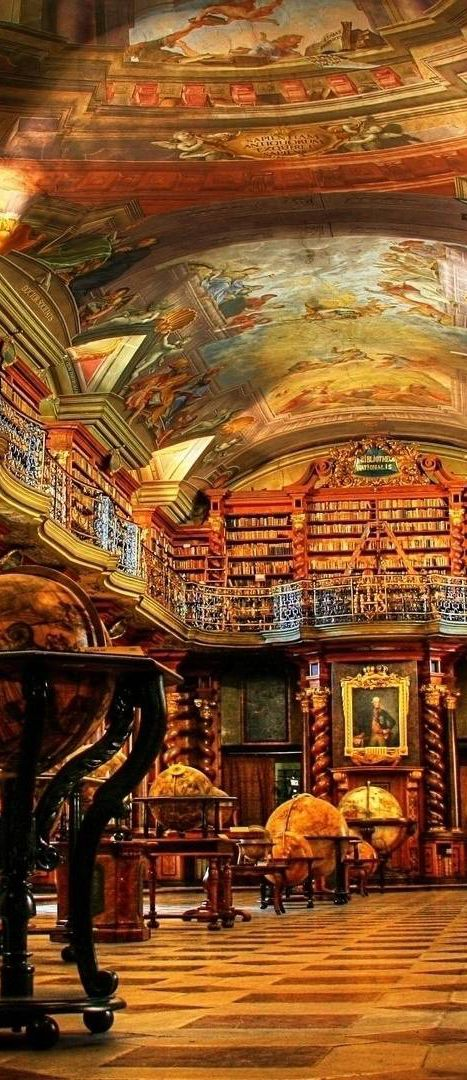 Klementium National Library in old Town Prague. The library of the Klementinum, build by the Jesuits at the beginning of the 18th century. This is Baroque architecture in its most beautiful form. #Czech Republic: