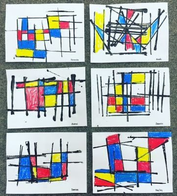 I have done many different Piet Mondrian inspired art activities.  But this one is now my absolute favorite and so easy to do!  These were all done by Kindergarten and Grade One students.   The childr: