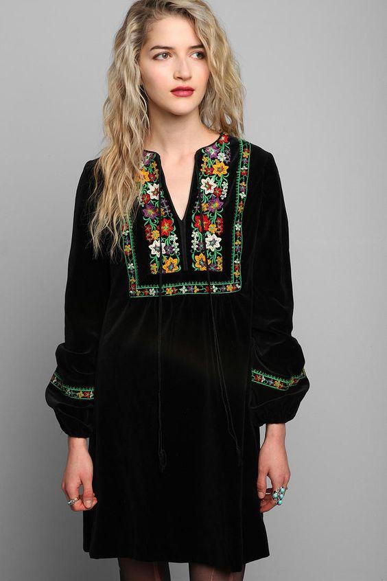 Vintage &3970s Velvet Embroidered Boho Dress  And dresses Boho and ...