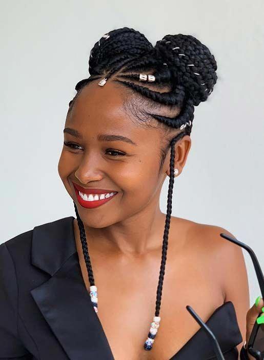 Ghana Braids Buns Braidedhairstylesforblackwomen Blackhairstyles Hair Styles Cornrow Hairstyles Braids For Black Hair