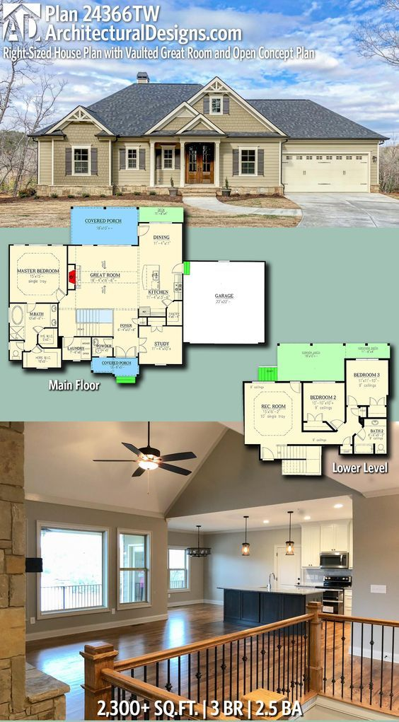 Plan 24366tw Right Sized House Plan With Vaulted Great Room And Open Concept Plan Architectural Design House Plans House Plans New House Plans