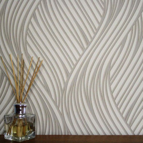 Waves 39 geometric waving striped wallpaper beige cream and for Grey and cream wallpaper