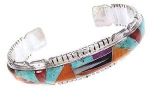Genuine Sterling Silver Turquoise And Multicolor Inlay Cuff Bracelet OS59517 SilverTribe. $329.99