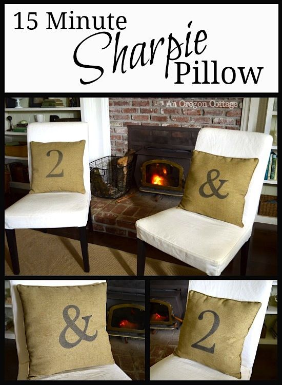 Looking for a quick catalog knockoff? You won't believe how great 15 Minute Sharpie Pillows turn out! And they're completely customizable: initials, monograms, numbers, whatever you want! From An Oregon Cottage