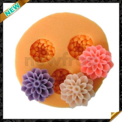 DIY Mold Silicone Flower 3 Cavity Choc Muffin Handmade Soap Candle Mould Maker
