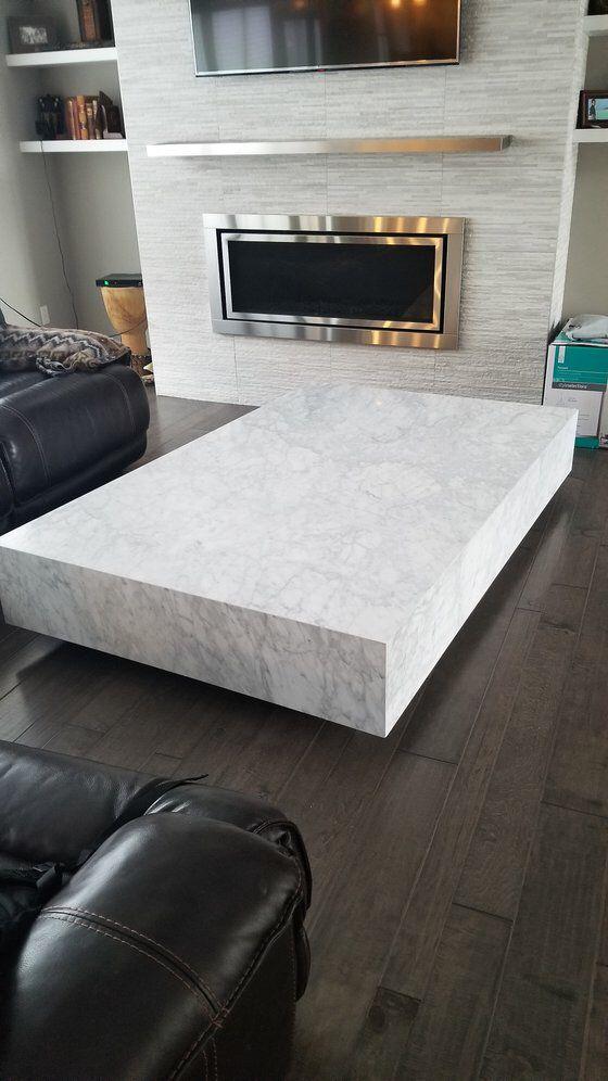 Modern Restoration Hardware White Marble Plinth Coffee Table On