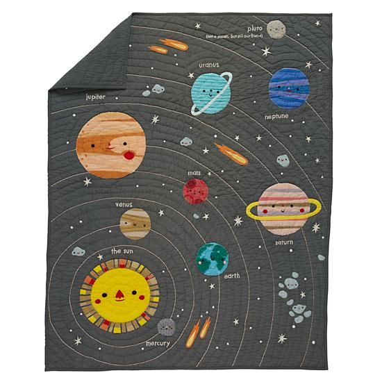 "Deep Space Baby Quilt  | The Land of Nod | ""Pluto (not a planet, but still our friend)"":"