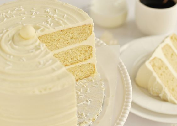 Love this cake - Vanilla with white choc frosting. Would colour the cake of course!: Vanilla Cake Filling Ideas, Layer Cakes, White Cake Recipes, White Chocolate Frosting, Cake Sweetapolita, Wedding Cakes, White Chocolate Cake Filling, White Cakes, 3 Layer White Cake