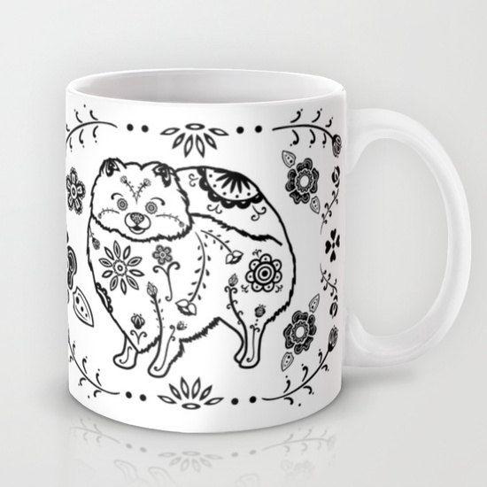 Sugar Skull Pomeranian Mug  B&W by mydogismycopilot on Etsy