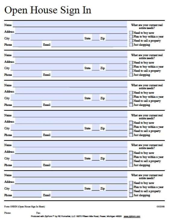 PageHistoryWikis > Fillable Open House Sign-in Sheet | PDF | Word ...