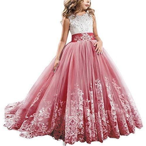 Satin fleur fille fête demoiselle d/'honneur pageant robe rose ivoire 2 3 4 5 6 7 ans