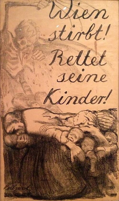 Käthe Kollwitz, Vienna Is Dying! Save Her Children! 1924:
