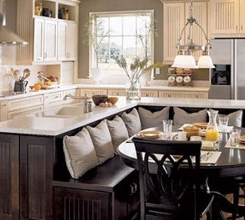 Rustic kitchen islands with seating with booths kitchen for Built in booth