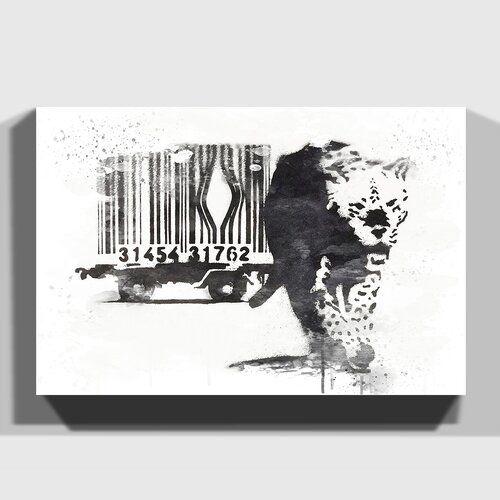 BANKSY TIGER BARCODE WHITE GRAFFITI CANVAS PRINT ART