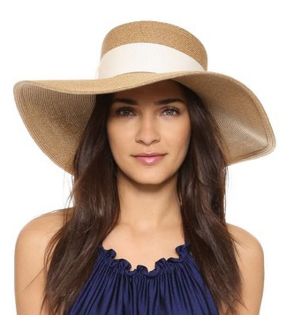 Wide-Brimmed Sun Hat with White Band