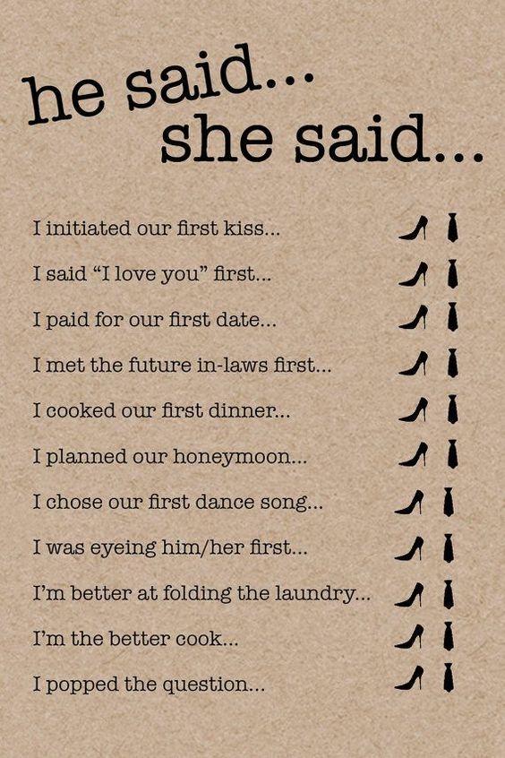 Bridal Shower Games / He Said She Said Card / Kraft / Wedding Advice / Wedding / Bride