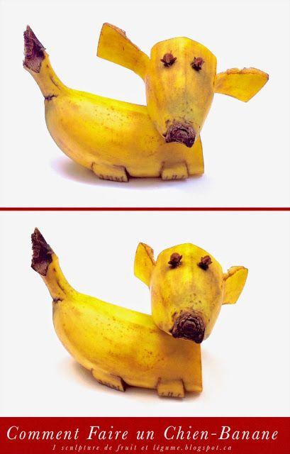 1 sculpture de fruit et l gume comment faire un chien banane boite astuces pinterest. Black Bedroom Furniture Sets. Home Design Ideas