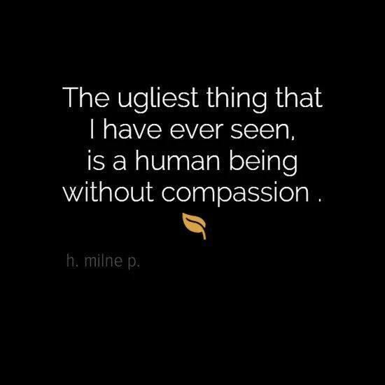 The ugliest thing that I have ever seen is a human being without compassion: