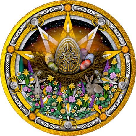 Gold & silver interlaced pentacles celebrating the pagan sun sabbat of Ostara featuring elemental eggs, flowers, rabbits, god & goddess symbols and celtic knotwork.