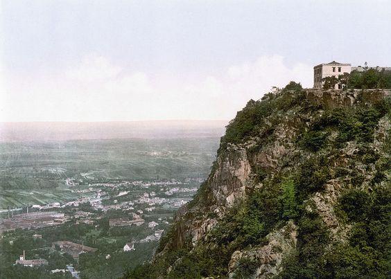 Blick vom Hexentanzplatz auf Thale um 1900