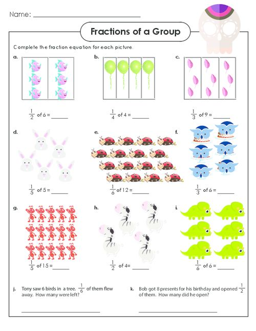 Worksheets Fractions Of A Set Worksheets fractions math worksheets and cool on pinterest enjoy advanced with these fun sets of objects advancedfractions fractionspractice