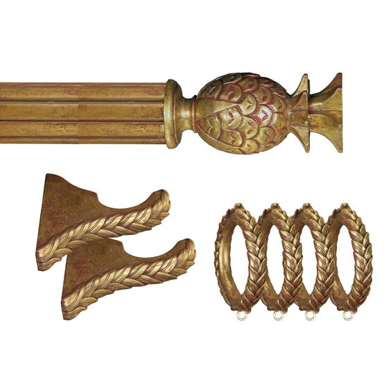 Menagerie Ready 2 in. Gilded Gold Pineapple Drapery Hardware - 13 pc. Set - $348.39 @hayneedle