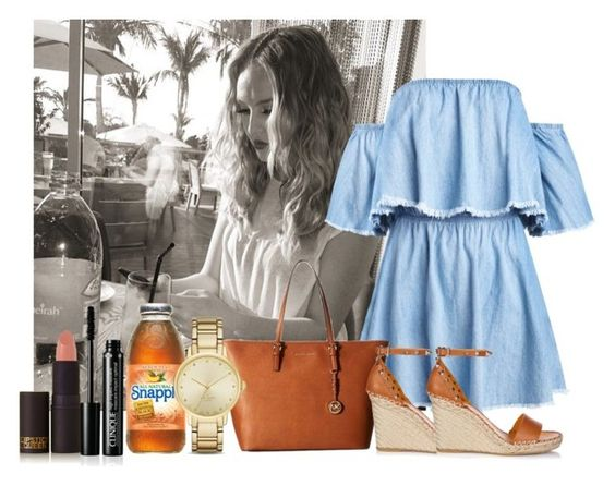 """""""Breakfast with Perrie in LA"""" by sychie ❤ liked on Polyvore featuring MICHAEL Michael Kors, Valentino, Lipstick Queen, Kate Spade and Burberry"""