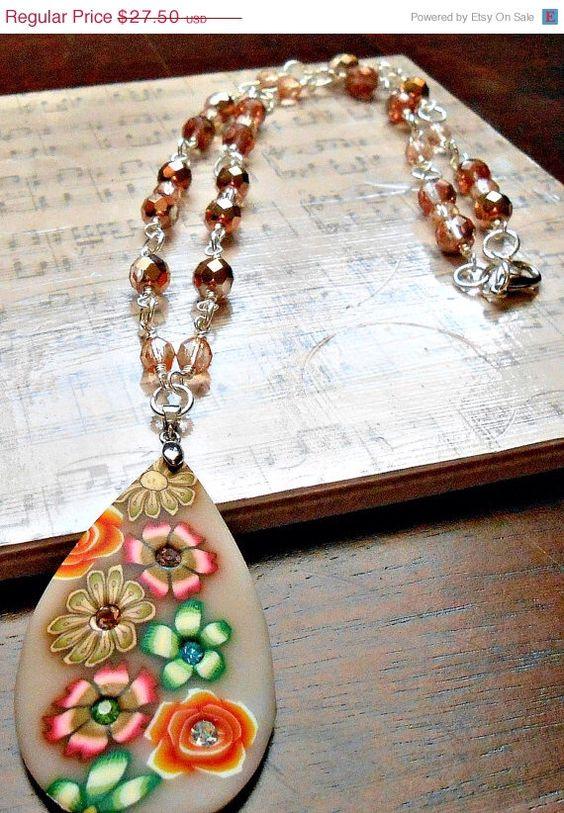 YEAREND Copper Fire Polished Czech Glass Beaded Flower Pendant Necklace by julesnkc on Etsy https://www.etsy.com/listing/182825425/yearend-copper-fire-polished-czech-glass