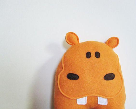 Orange Hippo Stuffed Animal by LittleAmaryllis on Etsy