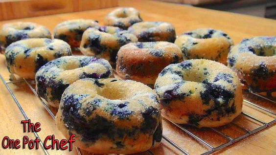 The One Pot Chef Show: Oven Baked Blueberry Donuts - RECIPE