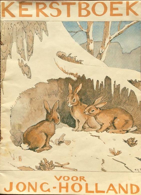 Omslag van Kerstboek voor jong-Holland 1928 ontworpen door Edzard Koning. Ook de illustraties bij de kerstverhalen zijn door hem gemaakt. 1928 was het derde en laatste jaar dat Koning een bijdrage leverde.