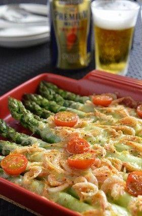 簡単!アスパラと桜海老のチーズ焼き