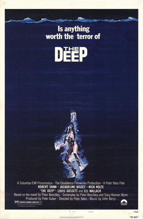 The Deep (1977). Director: Peter Yates Cast: Nick  Nolte, Jacqueline Bisset, Robert Shaw, Louis Gossett Jr., Elli Wallach
