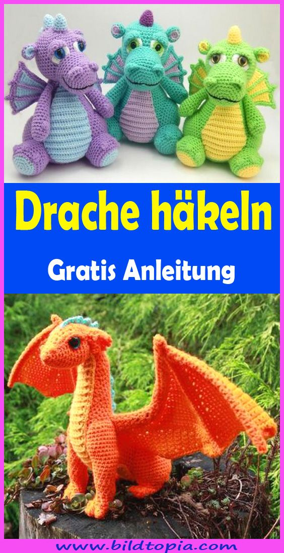hkelanleitung #amigurumi #drachen #drache #draco in 2020 | Drachen ... | 1100x564