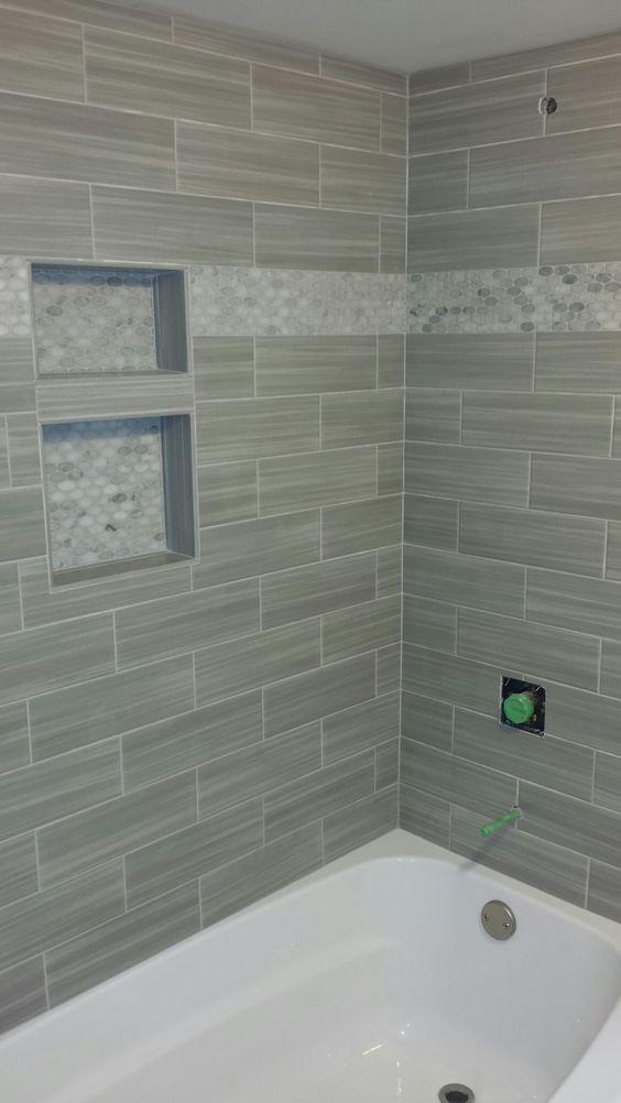 bathroom shower niche mosaic border linear tile subway