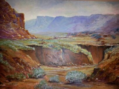 Red Canyon Ranch - Painting by Katherine Cook