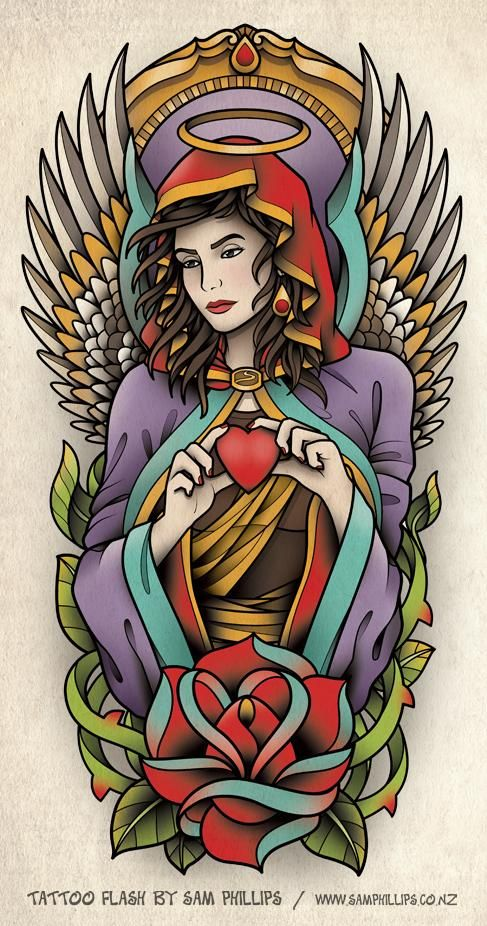 angel half sleeve tattoo design sam phillips artist illustrator graphic designer art. Black Bedroom Furniture Sets. Home Design Ideas