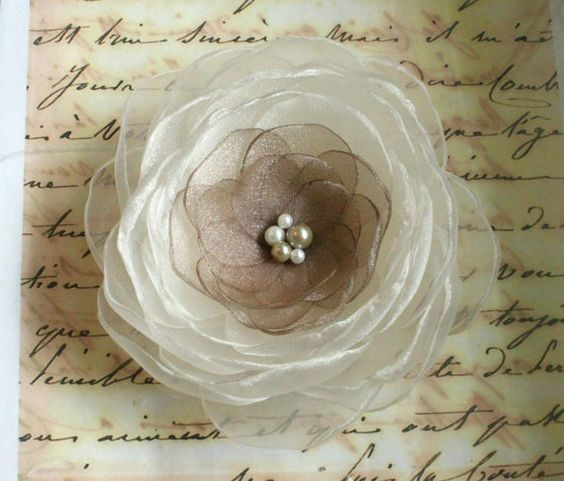 Hair flower  shimmery ivory and taupe organza by BombshellBlooms, $18.00