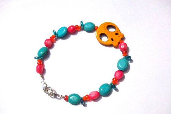 Pink beaded and Turquoise Blue and Tangerine by EmmasJewelChest, $11.00