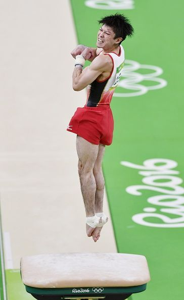#RIO2016 Japan's Kohei Uchimura performs in the vault in the men's allaround gymnastics competition at the Rio de Janeiro Olympic Games on Aug 10 2016
