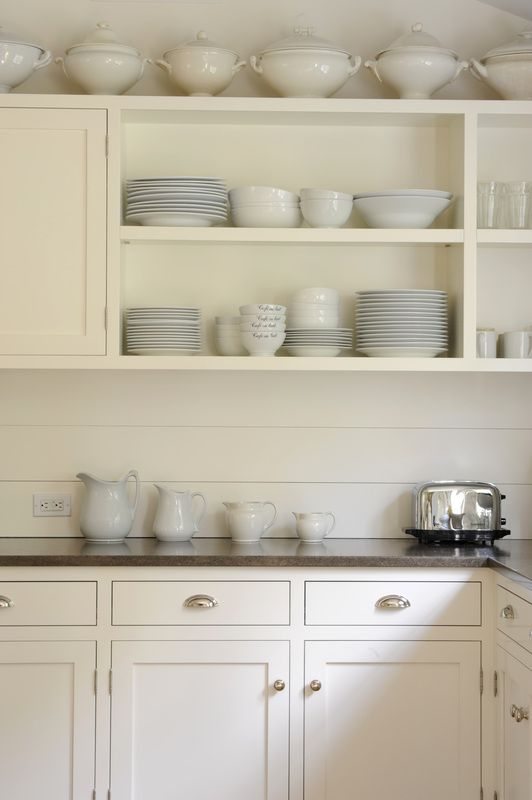 Shaker style open shelving and inset cabinets on pinterest for White enamel kitchen cabinets