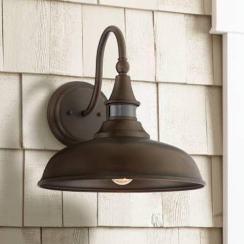Gough 12 1 2 High Bronze Motion Sensor Outdoor Wall Light 63m73 Lamps Plus Outdoor Wall Lighting Wall Lights Farmhouse Outdoor Lighting