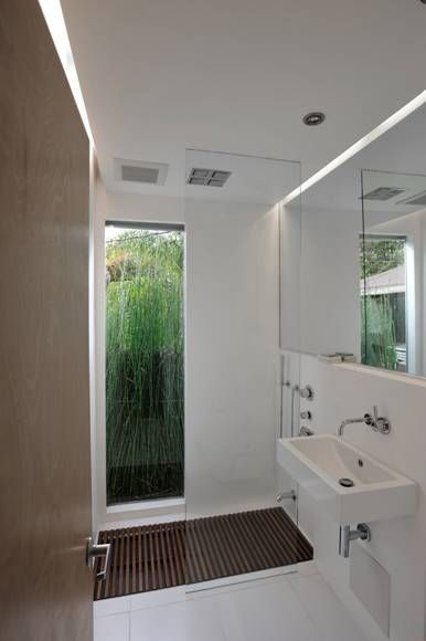 I looooove the full length window in the bathroom for Small bathroom high ceiling